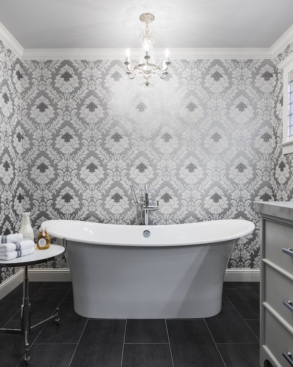 Silver and gray damask wallpaper contemporary bathroom for Gray bathroom wallpaper