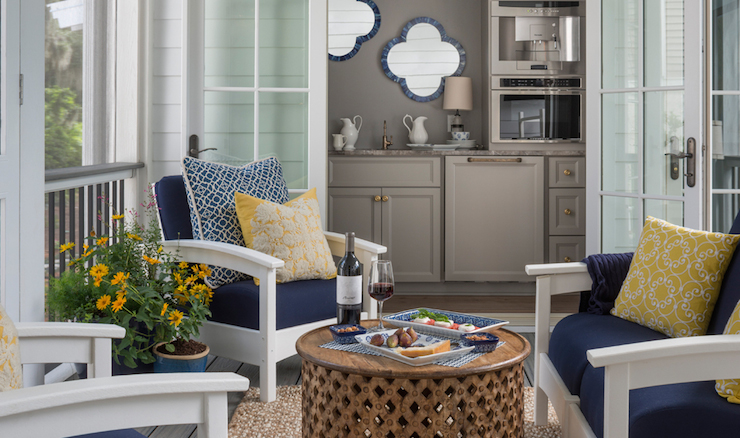 gray butlers pantry cabinets transitional deck patio. Black Bedroom Furniture Sets. Home Design Ideas