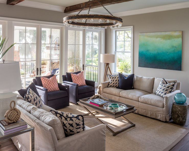 Tan And Navy Living Rooms Transitional Living Room