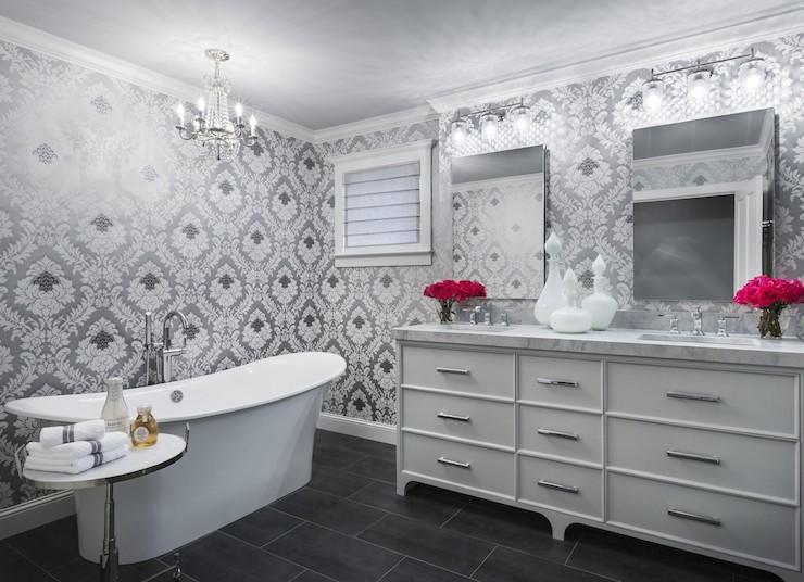 Silver Damask Wallpaper Contemporary Bathroom Martha O Hara