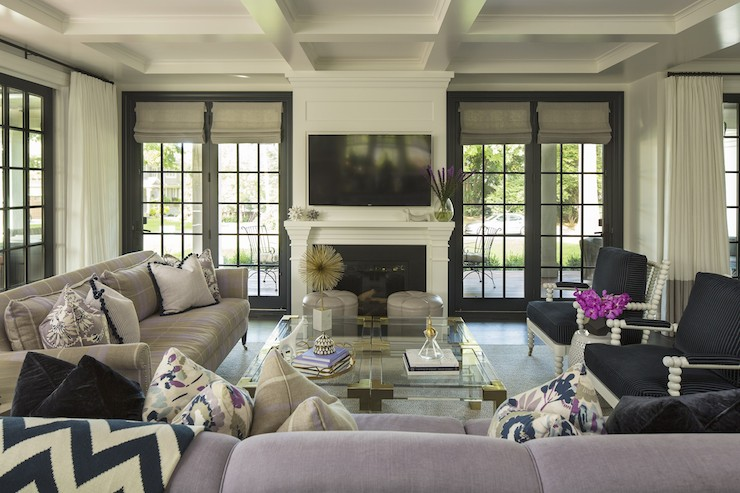 French Doors Flanking Fireplace Design Ideas