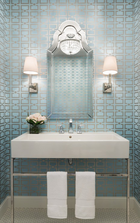 White and blue powder room with blue penny tile floor for Blue and silver bathroom accessories