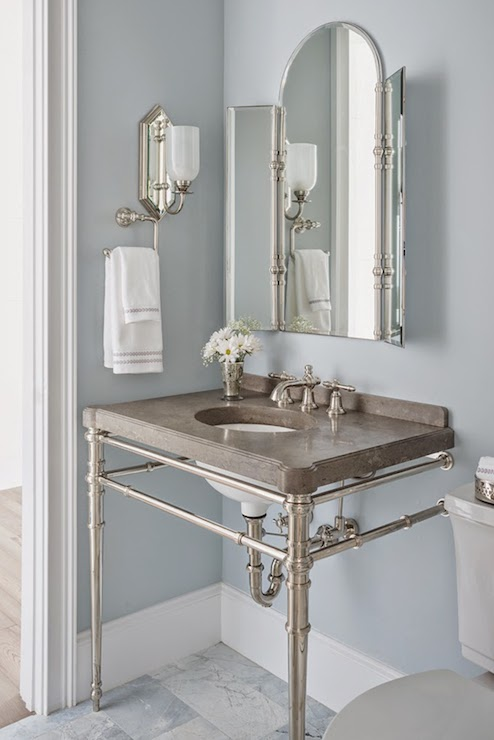 Silver gray paint colors transitional bathroom for Grey silver bathroom accessories