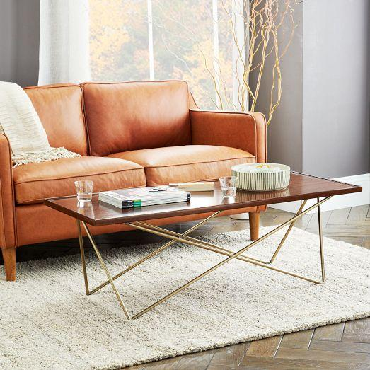 Waldorf Brown And Brass Coffee Table - Cb2 adam coffee table