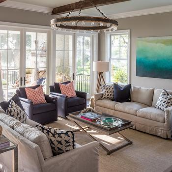 Tan and Navy Living Rooms, Transitional, living room, Benjamin Moore Shale, Reu Architects