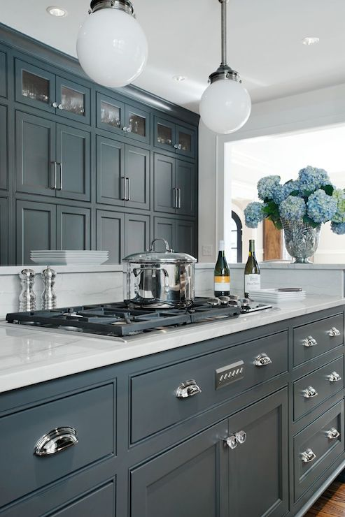 Grey cabinets design ideas for Dark blue kitchen paint
