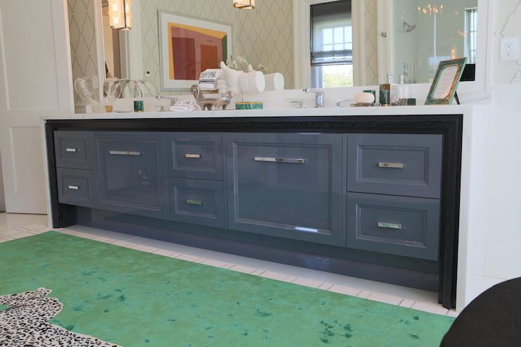 Gray Lacquered Cabinets Contemporary Bathroom Ciuffo