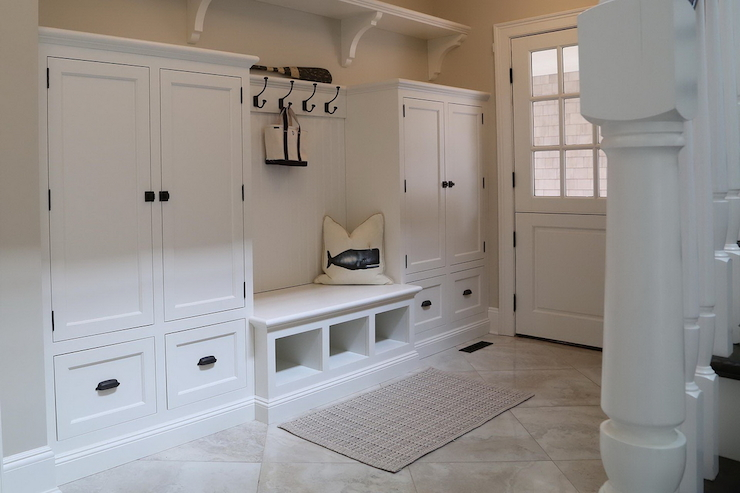 Marble like mudroom bench   transitional   laundry room