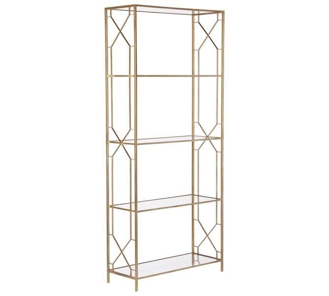 lamar 7 shelf etagere gold leaf with glass shelves. Black Bedroom Furniture Sets. Home Design Ideas