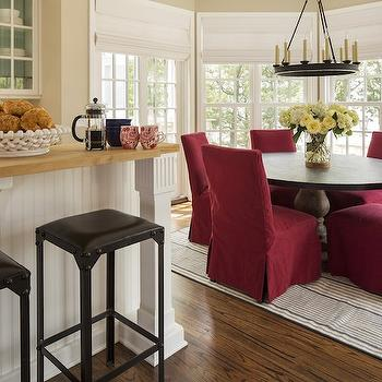 Red Dining Chairs, Cottage, kitchen, Martha O'Hara Interiors