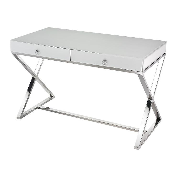 modern full glass desk. White Glass Desk Design By Lazy Susan Modern Full