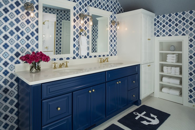 Blue Vanity Contemporary Bathroom Benjamin Moore Down Pour - Navy blue bath mat for bathroom decorating ideas