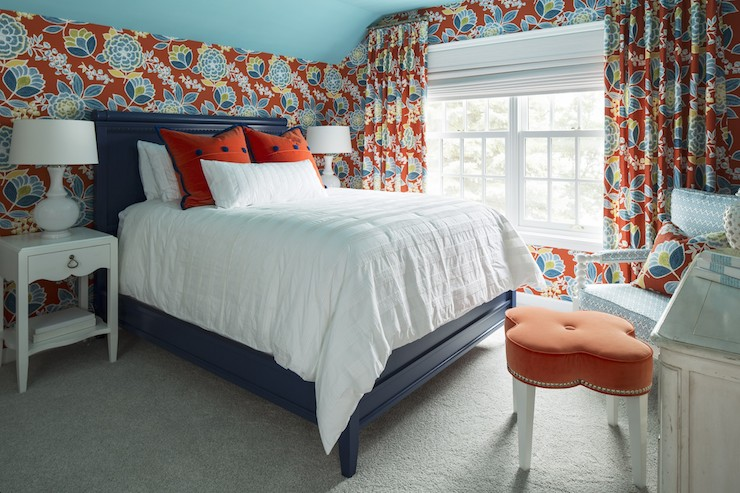 Great Gorgeous Orange And Blue Bedroom With Sloped Ceiling Painted Benjamin Moore  Pool Blue Over Walls Papered In Thibaut Sulu Wallpaper Paired With Matching  ...