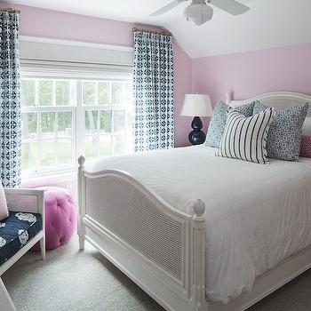 Navy Table Lamps, Transitional, bedroom, Benjamin Moore Misty Rose, Martha O'Hara Interiors