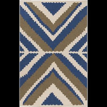 Alameda Ivory, Cobalt, & Olive Rug design by Beth Lacefield I Burke Decor