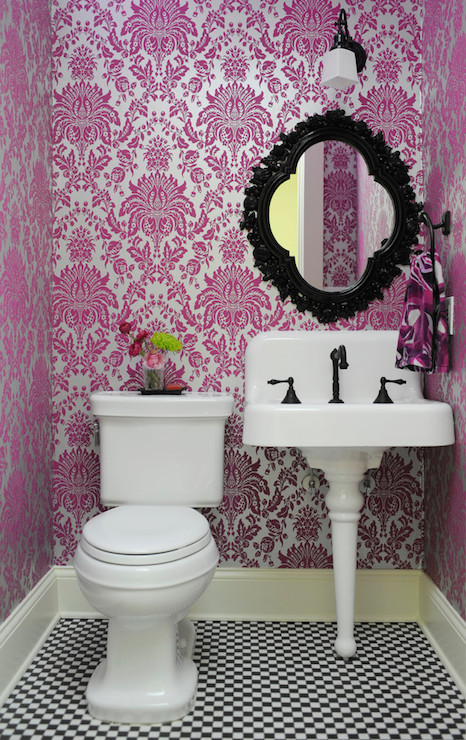 Delightful Pink And Black Powder Room Clad In Graham And Brown Elizabeth Flock Effect  Vinyl Washable Wallpaper Which Frames An Oil Rubbed Bronze Wall Sconce ...