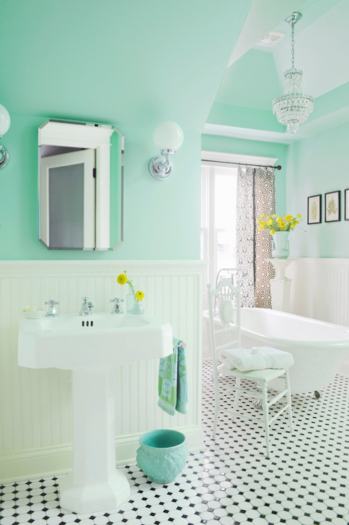 Mint green paint colors vintage bathroom benjamin for Bathroom decor green walls
