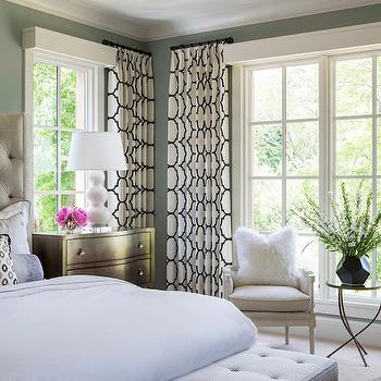 Black and White Curtains, Transitional, bedroom, Benjamin Moore Iced Marble, Martha O'Hara Interiors