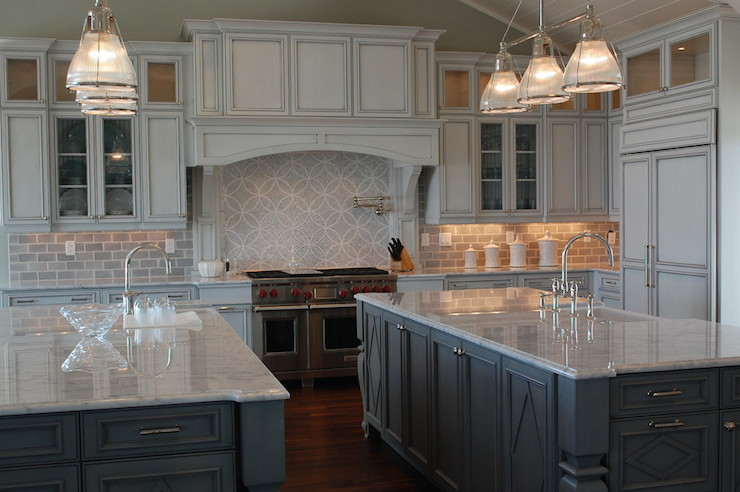 Double Kitchen Islands Transitional Kitchen Restoration - Silver gray kitchen cabinets