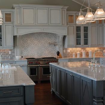 Double Kitchen Islands, Transitional, kitchen, Restoration Hardware Silver Sage, Amy Tyndall Designs