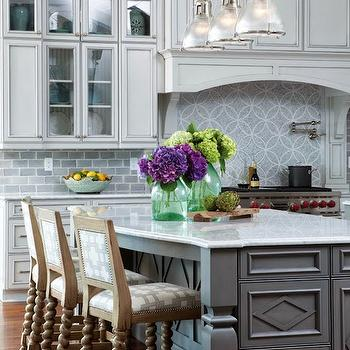 Haverhill Polished Nickel Island Light, Transitional, kitchen, Restoration Hardware Silver Sage, Amy Tyndall Designs