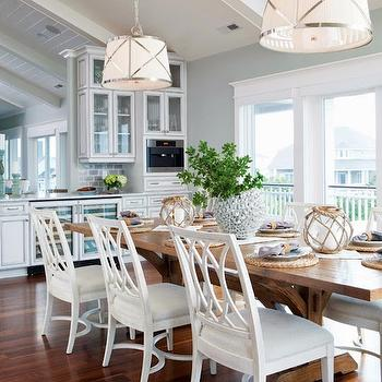 Trestle Dining Table, Cottage, dining room, Restoration Hardware Silver Sage, Amy Tyndall Designs