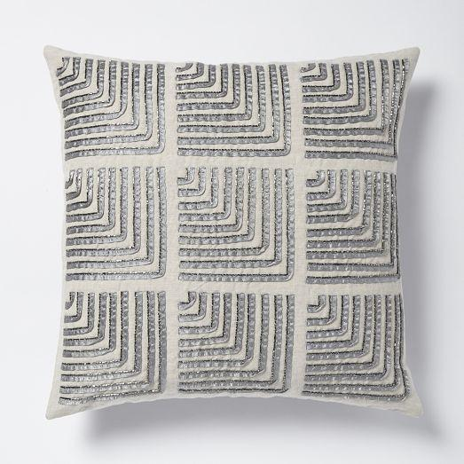 beaded corners silver pillow cover