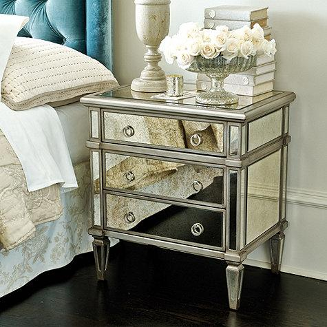 Addison Silver Mirrored Side Table, Silver Mirror End Table