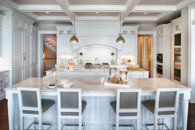 Gray French Counter Stools Transitional Kitchen