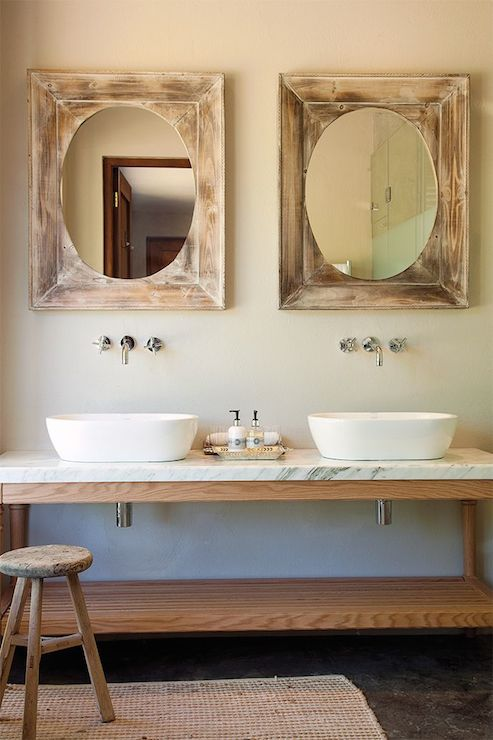 Oval Vessel Sinks Transitional Bathroom
