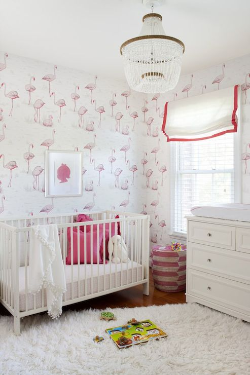 Blue And Pink Nursery With Beaded Chandelier