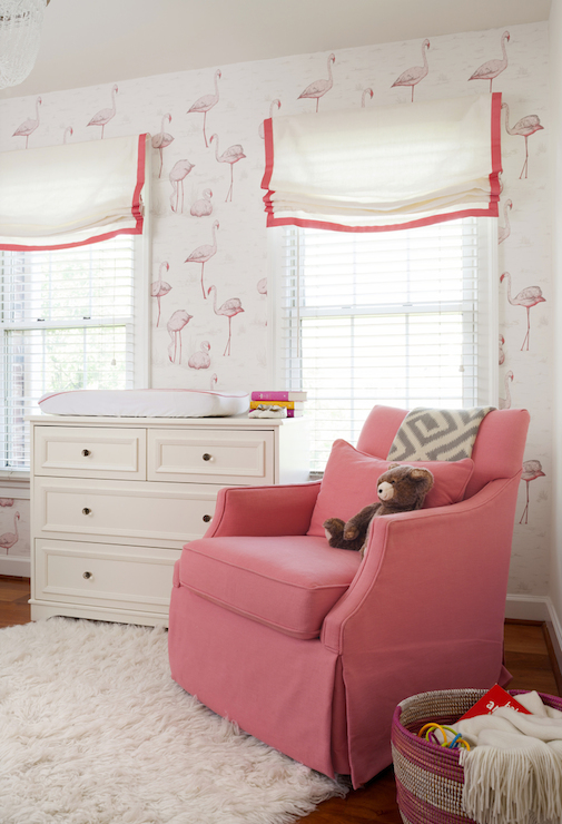 Flamingos Wallpaper Transitional Nursery Ps