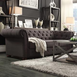 Marie Curved Grey Settee Overstock Com