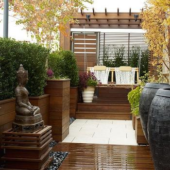 Buddha Water Fountain, Asian, deck/patio, Wesley Moon