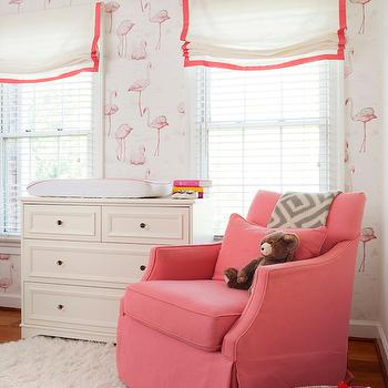 Flamingos Wallpaper, Transitional, nursery, PS Interiors Group