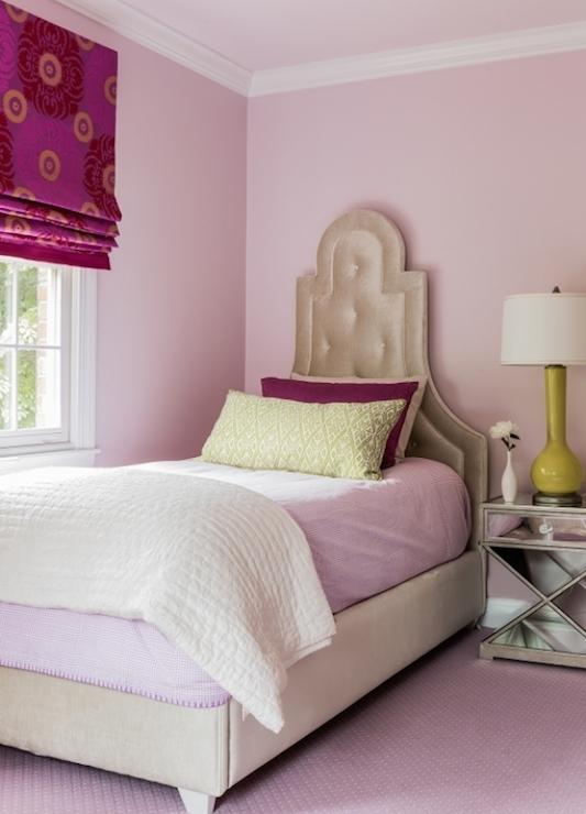Polka Dot Headboard Transitional Bedroom Thornton