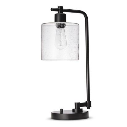 Threshold Black And Clear Seeded Glass Edison Table Lamp