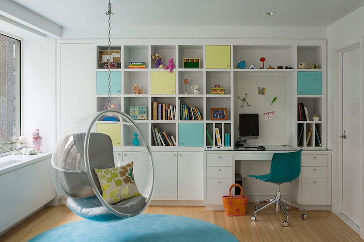 Shelves Over Kids Built In Desk With Light Blue Chair