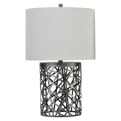 Threshold grey woven wire table lamp with oval shade keyboard keysfo Gallery