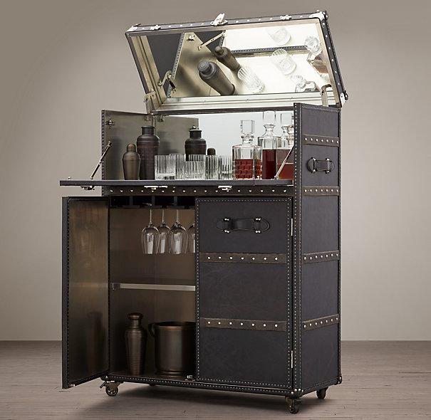 Ludlow Black Trunk Bar Cabinet