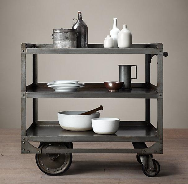 1930s Grey Industrial Steel Bar Cart