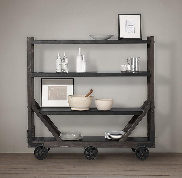 Wood And Metal Jackson Kitchen Cart: Industrial Style Steel And Wood Table Cart