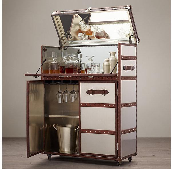 Mayfair Bar Cart Brushed Steel I Restoration Hardware