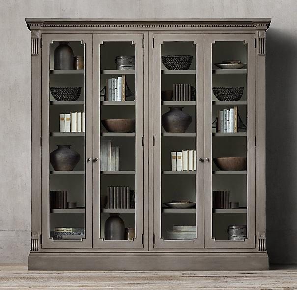 St james grey glass 4 door cabinet - Restoration hardware cabinets ...