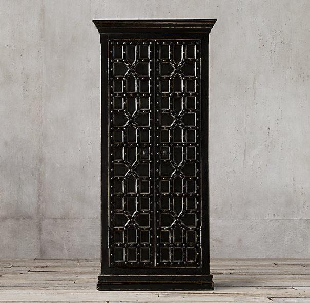 17th Century Black Castell Double Door Cabinet