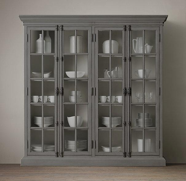 French Casement Grey 4 Door Cabinet