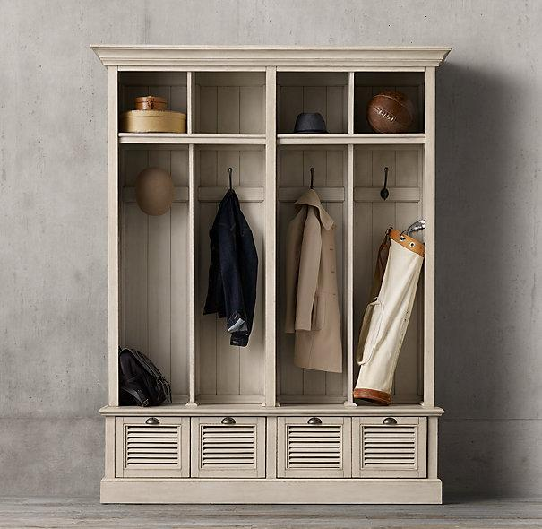 Shutter 4 bin ivory entry locker Hallway lockers for home