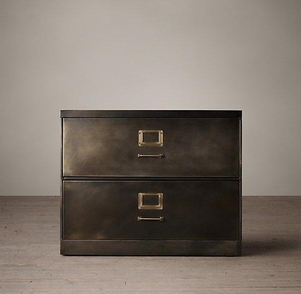 1940s Bronze Industrial Modular Office Cabinet