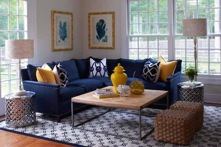 Navy sectional transitional living room lillian august for Living room yellow accents