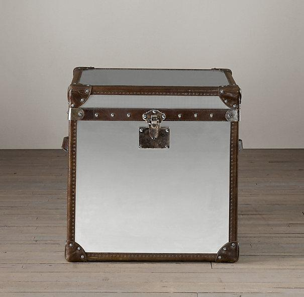 Trans Atlantic Silver Steamer Trunk X Base Console